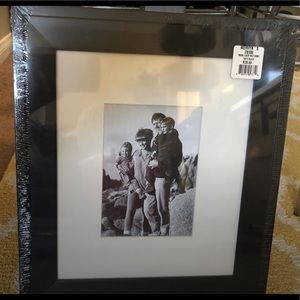NWT 10x12 Black wood picture frame with white mat